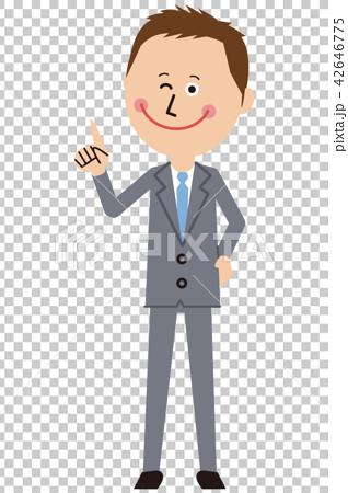 ポップなグレーのスーツの短髪ビジネスマンが指差し 42646775