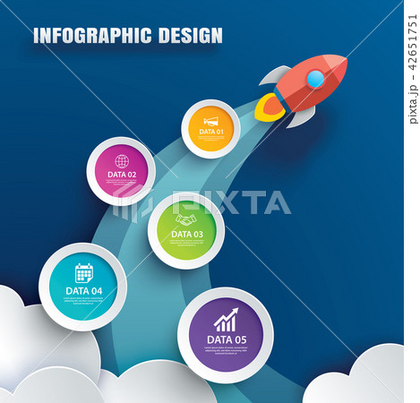 startup infographics with 5 circle data template のイラスト素材