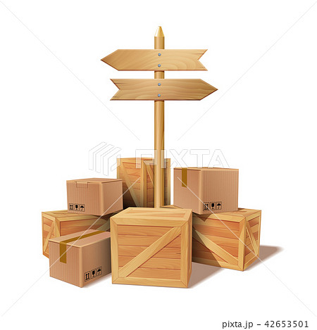 Pile of stacked goods cardboard and wooden boxes. 42653501