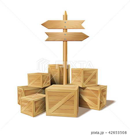 Pile of stacked sealed goods wooden boxes 42653508