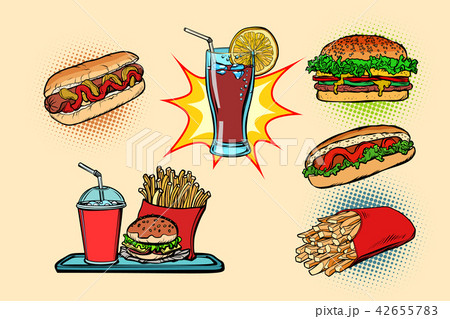 fast food set collection hot dog Burger Cola French fries drink 42655783