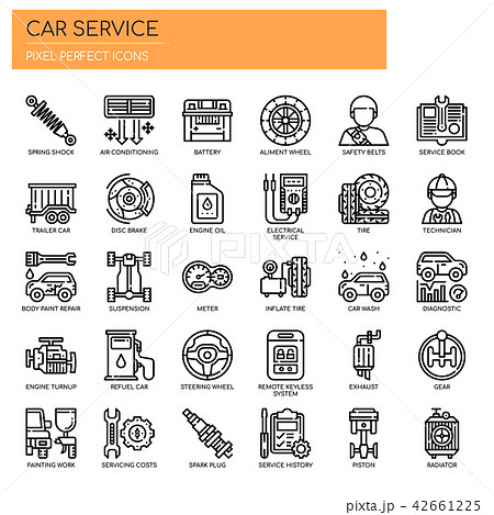 Car Service , Thin Line and Pixel Perfect Icons. 42661225