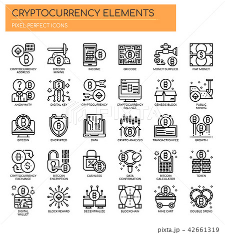 Cryptocurrency Elements , Pixel Perfect Icons 42661319