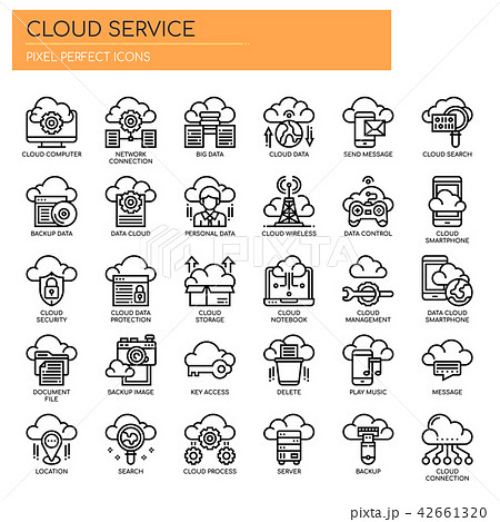 Cloud Service , Thin Line and Pixel Perfect Icons 42661320