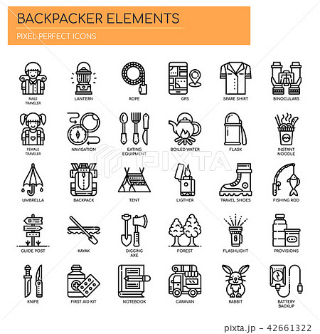 Backpacker Elements ,   Pixel Perfect Icons 42661322