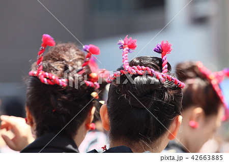 神輿の髪型の写真素材 [42663885] , PIXTA