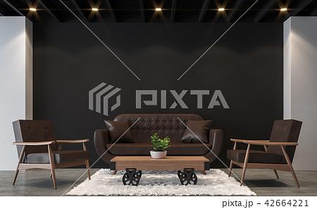 Modern loft living room with black wall 3d render 42664221