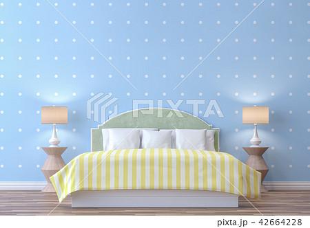 pastel bedroom with blue wall 3d renderのイラスト素材 42664228 pixta