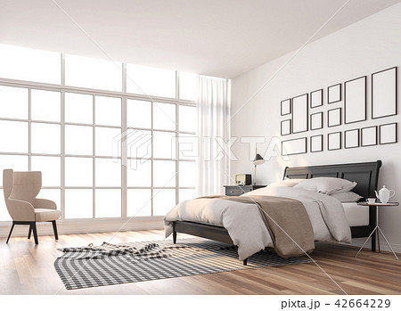 Scandinavian bedroom with large window 3d render 42664229