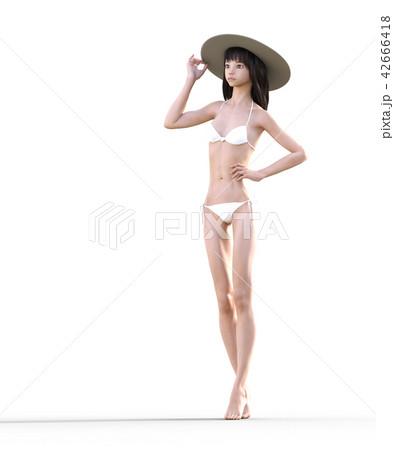 水着の女性 ビューティーイメージ perming3DCGイラスト素材 42666418