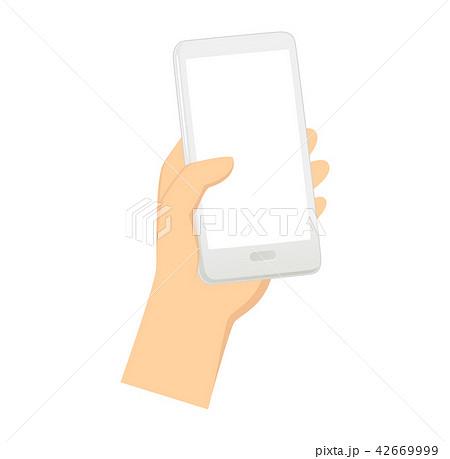 スマホを持つ手のイラストのイラスト素材 42669999 Pixta