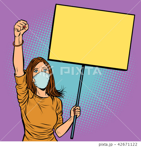 woman in medical mask protests with a poster 42671122