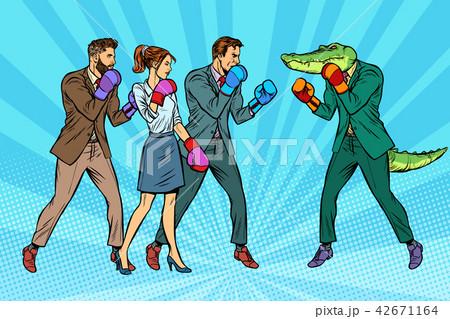 People Boxing a reptilian crocodile 42671164