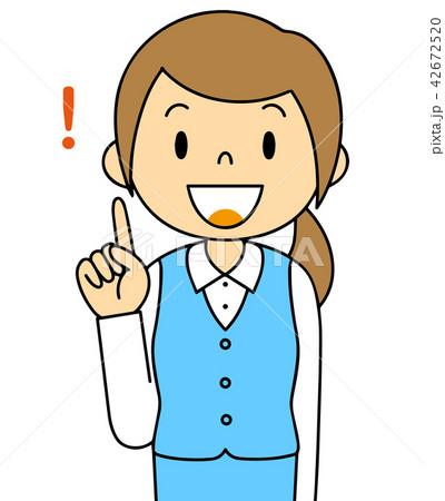 女性 OL 会社員 バリエーション ひらめく 人差し指をさす 42672520