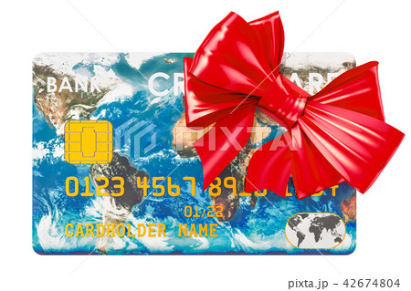 Credit card with bow, free global banking service 42674804