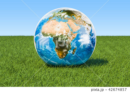 Eco concept. Earth Globe on the green grass 42674857