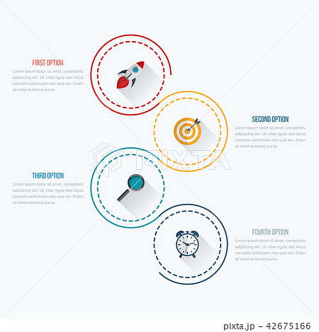 infographics template 4 options with circleのイラスト素材 42675166