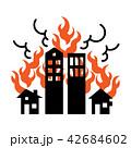 火事 家 白バックのイラスト 42684602