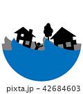 洪水 水害 家のイラスト 42684603