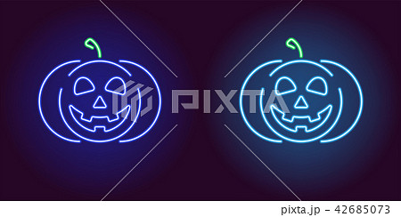 Kind neon pumpkin in blue and light blue color 42685073