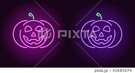 Kind neon pumpkin in purple and violet color 42685074