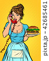 burger Delivery. Hotel service. Waitress 42685461