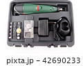 Battery drill in a case isolated 42690233