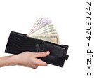 dollars sticking out of wallet 42690242