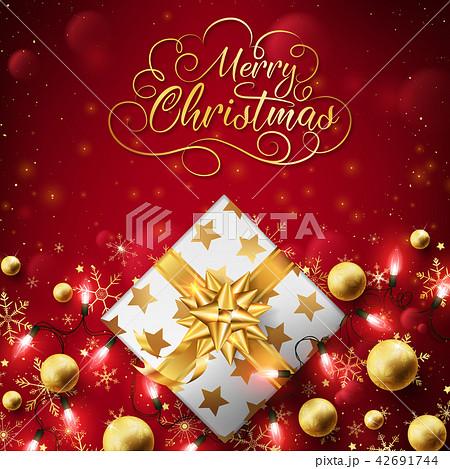 Close up of Christmas golden box 42691744