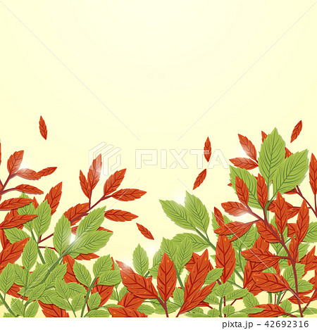 Red and green leaves autumn background 42692316