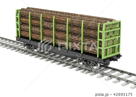 Freight wagon on the railway with wooden logs 42693175