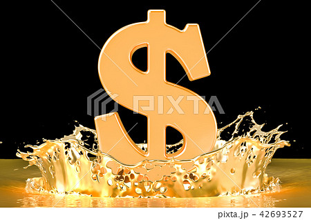 Golden dollar symbol with gold splashing 42693527