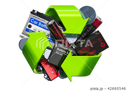 Green recycle symbol with batteries, 3D rendering 42693546