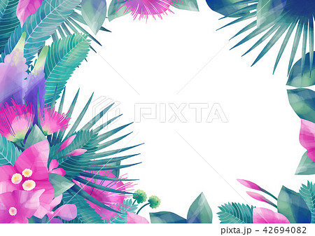 Pastel colored design with exotic leaves and flowers 42694082