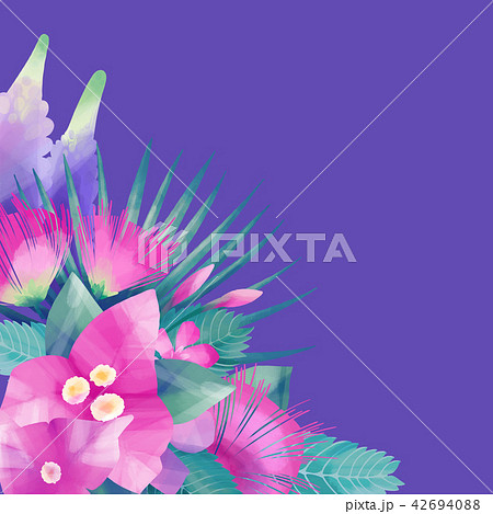 Pastel colored design with exotic leaves and flowers 42694088