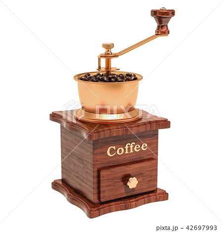 Manual coffee grinder with coffee beans 42697993