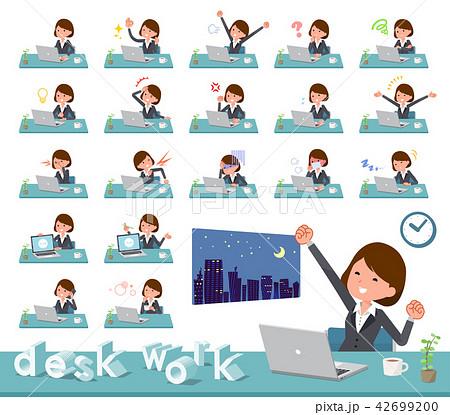 flat type Gray suit business women_desk work 42699200