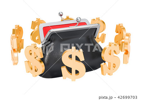 Purse with dollar symbols around, 3D rendering 42699703