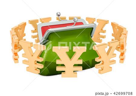 Purse with yen or yuan symbols around 42699708