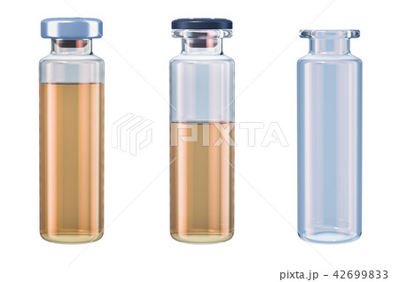 Set of vials with drug and empty, 3D rendering 42699833