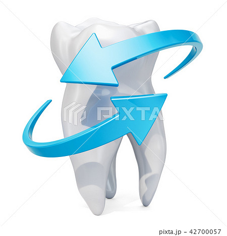Tooth with blue arrows. Teeth protection concept 42700057