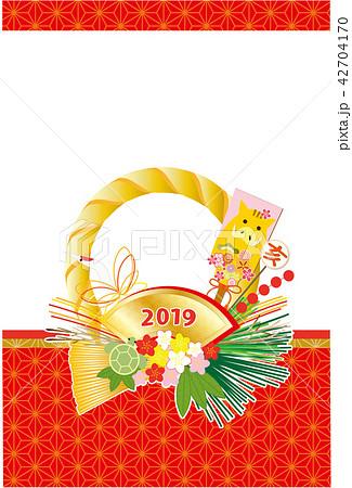 2019年年賀状 しめ縄 イノシシの羽子板 縦 42704170