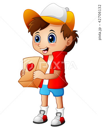 Cartoon boy giving gift packages 42706132