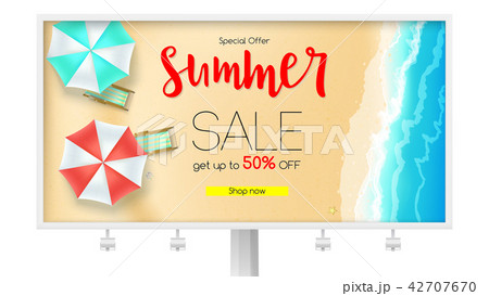 billboard with sales action summer offer get upのイラスト素材