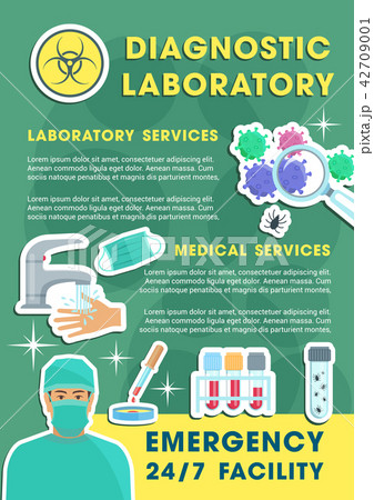 Diagnostic laboratory poster with lab equipments 42709001