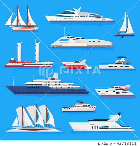Ships vector boats or cruise travelling in ocean or sea and shipping transportation illustration 42713111