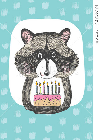 greeting card design with cute raccoon keeps a cake happy birthday