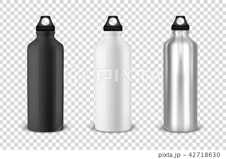 Vector realistic 3d black, white and silver empty glossy metal water bottle with black bung icon set 42718630
