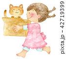 白バック 女の子 猫のイラスト 42719399