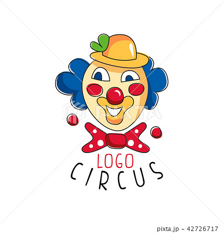 circus logo emblem with clown for amusement park festival party